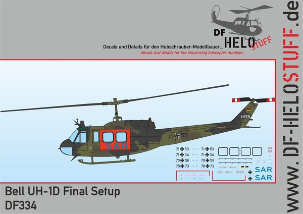 Decals Bell UH-1D Final Setup DF334 The last German SAR Hueys
