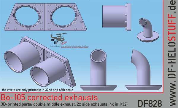 Details Corrected Exhausts for Bo-105 DF828